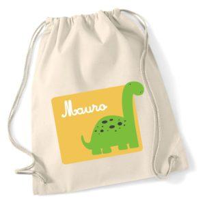Mochila de algodón Dinosaurio Verde-0