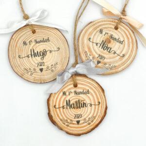 Rodaja de madera Navidad personalizada